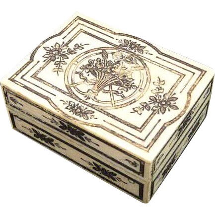 Antique Ivory Etui Box with Silver & Gold Foil Pique Palais Royal
