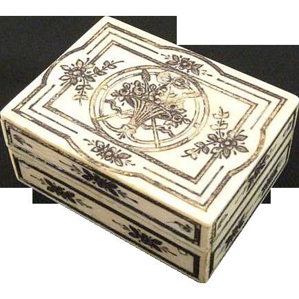 Antique Ivory Etui Box with Silver & Gold Foil Pique Palais Royal