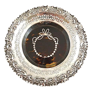 Antique Sterling Silver and Tortoise Shell Bowl with Silver Pique Work