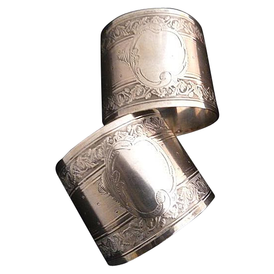 Antique French Silver Napkin Rings Matching Pair Floral Motifs Guilloche