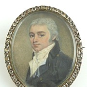 Antique Miniature Portrait of Georgian Gentleman Set In  Rose Gold