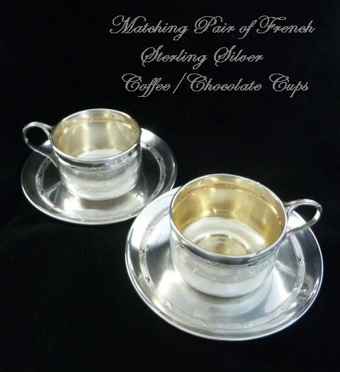 Antique French Sterling Silver Pair of Tea/Coffee Chocolate Cups