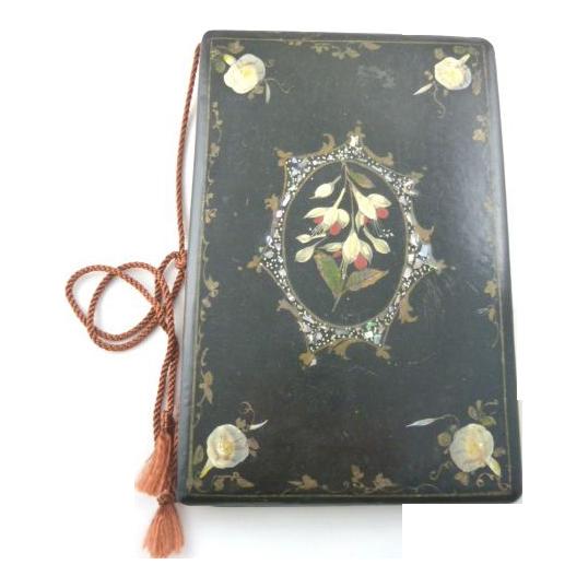 antique victorian era papier mache blotter folio with floral design 43 chesapeake court. Black Bedroom Furniture Sets. Home Design Ideas