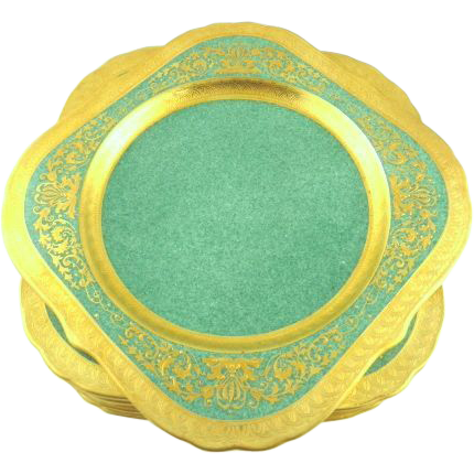 Royal Worcester Encrusted Gilt Square Plates  Set of 8 Salad/Dessert Plates