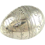 Antique Sterling Silver Nutmeg Grater Egg Shaped George III
