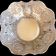 Antique Silver Bowl Pierced Work Ornate Design Bay Leaf Garland & Birds Hanau