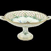 Antique Porcelain Compote Hand Painted Decoration Birds Gilt Lattice & Ivy