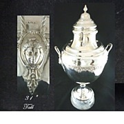 "Antique Silver Trophy Cup or Urn on Marble Plinth 31"" Tall"
