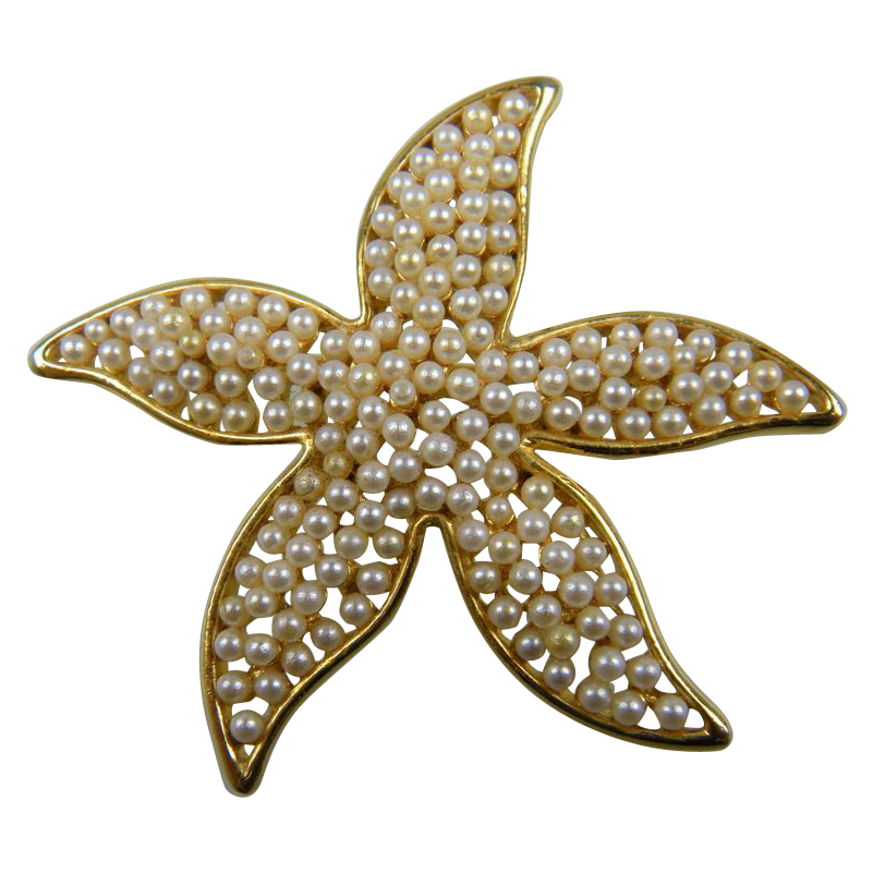 Sale Signed MARVELLA Imitation Pearl Starfish Pin