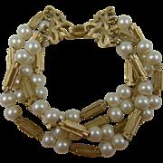 Fabulous Signed TRIFARI 4-Strand Imitation Pearl Bracelet