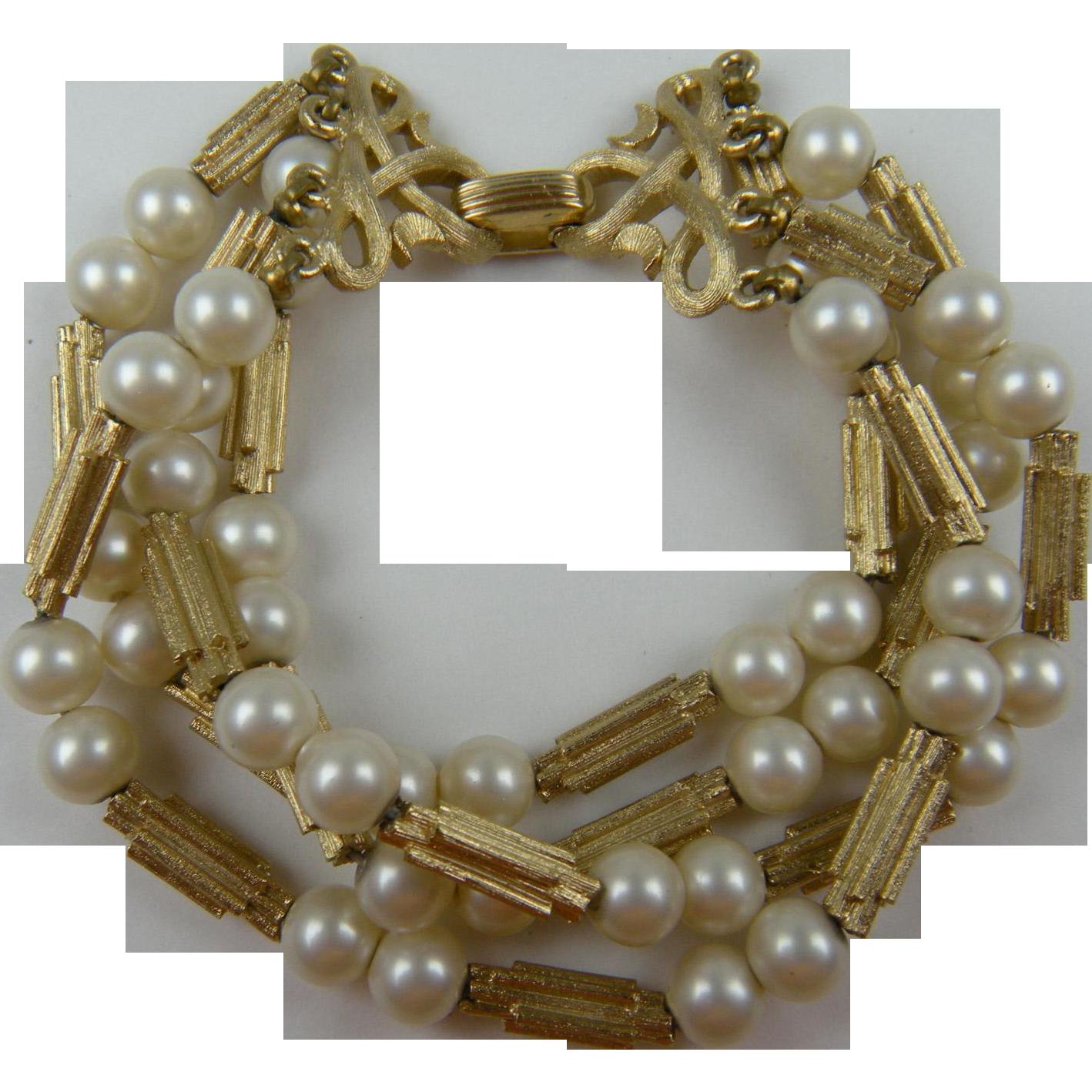 Signed TRIFARI 4-Strand Imitation Pearl Bracelet