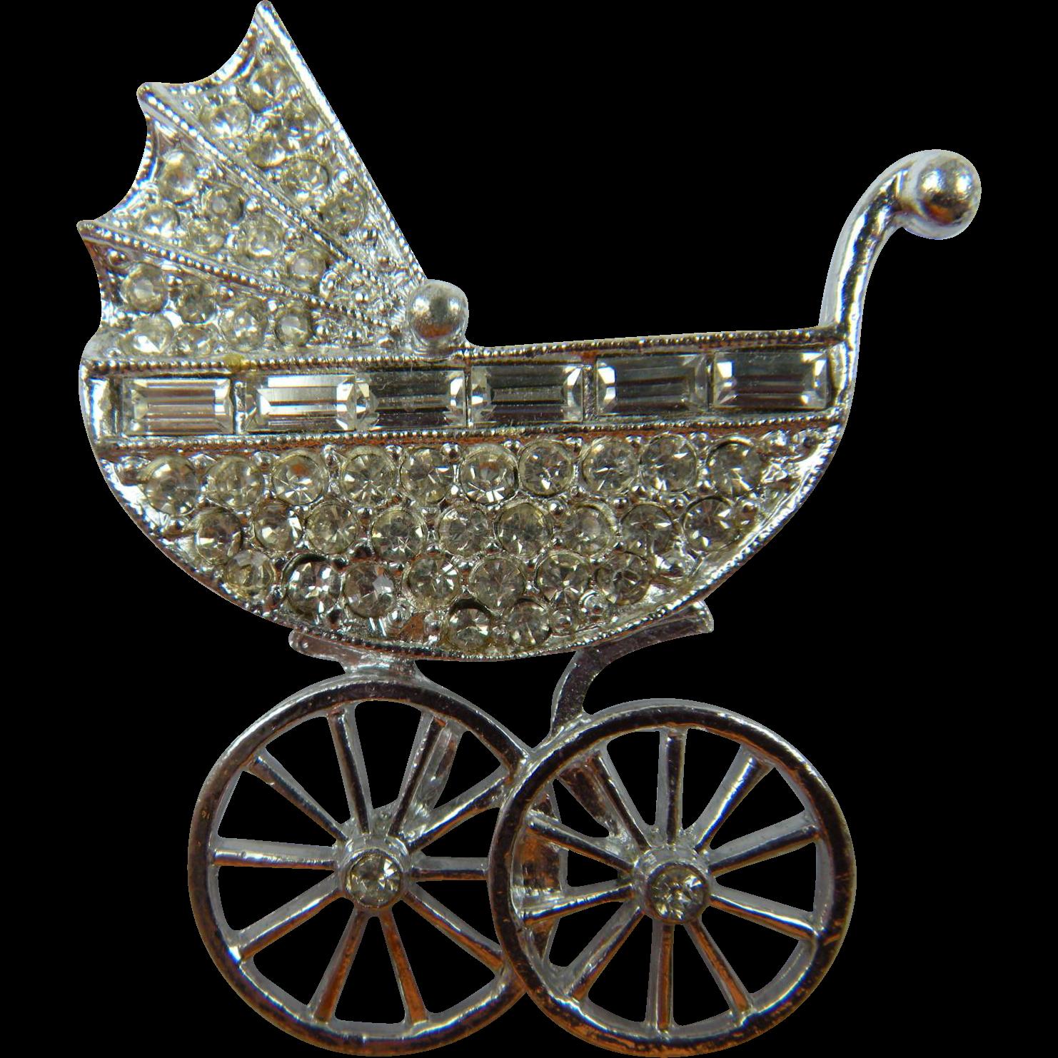 Unique Baby Carriage Rhinestone Brooch Book Piece