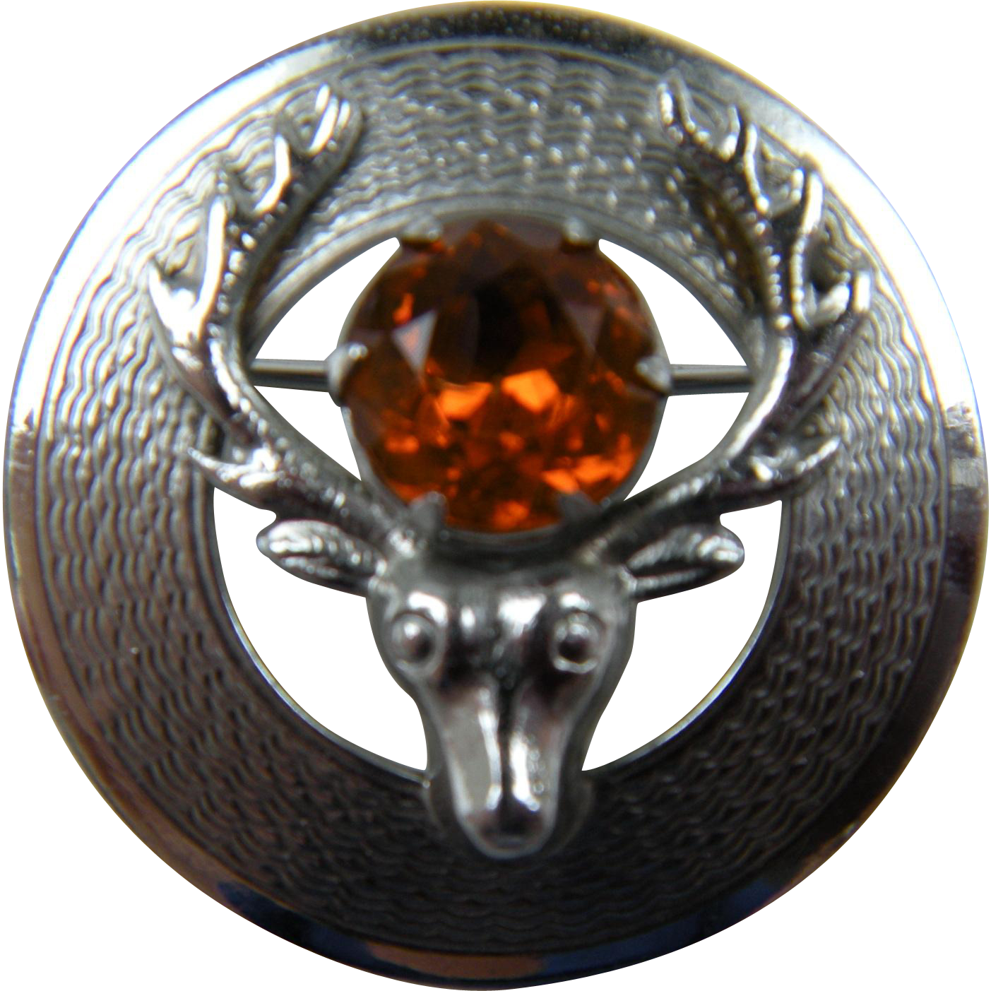 Signed MIZPAH Deer Brooch with Imitation Golden Topaz