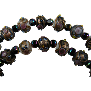 Venetian Bead Necklace with Crystal Spacers