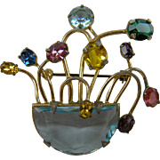 Gorgeous 1940's Flower Pot Brooch with Glass Stones Book Piece