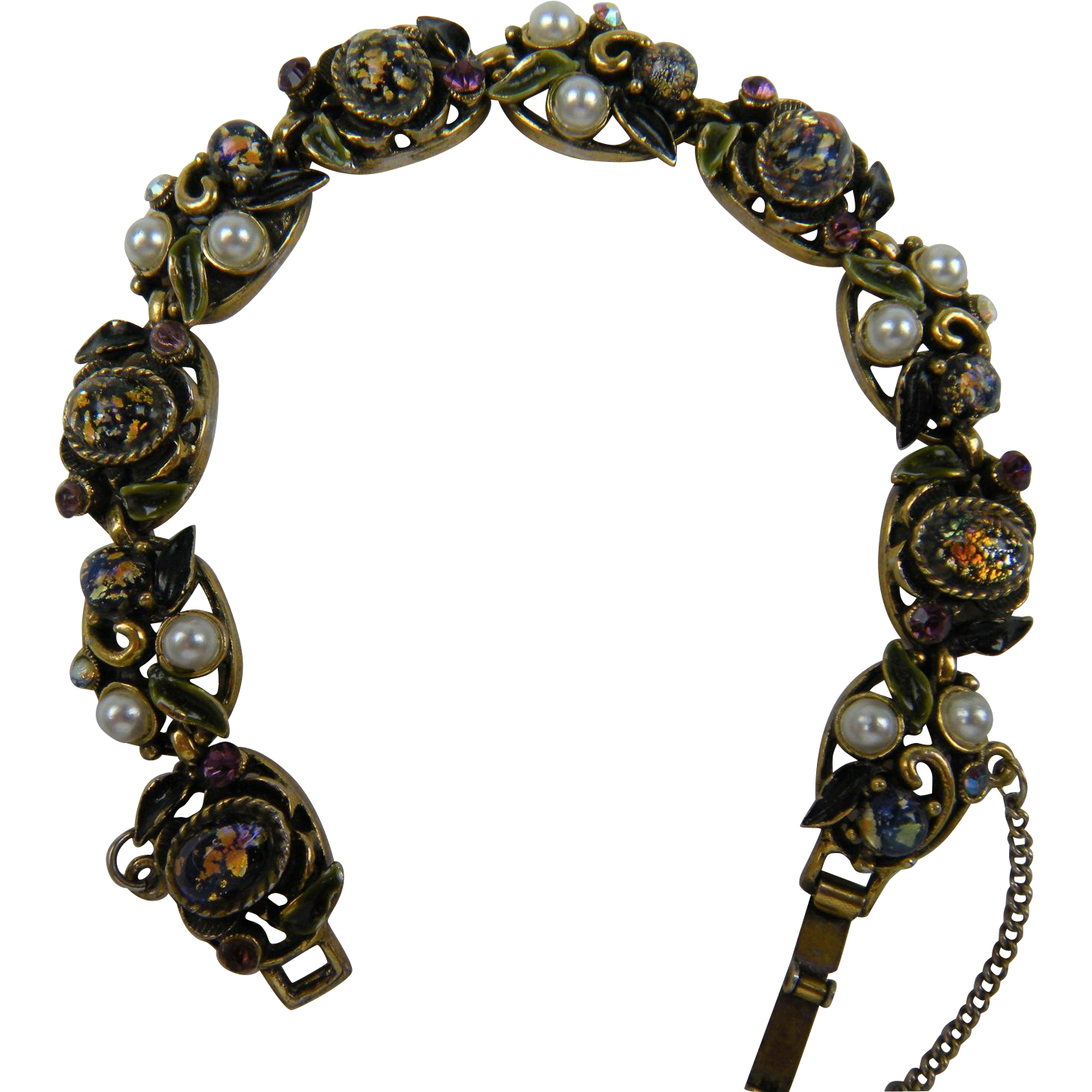 Gorgeous Bracelet with Dragon's Breath Cabochons, Enameling, and Imitation Pearls