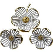 Signed MONET Dogwood Flower Brooch with Matching Earrings Book Piece