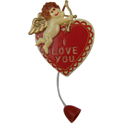 "1940's Heart Brooch ""I Love You"" Cupid with Arrow"