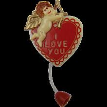 "SALE 1940's Heart Brooch ""I Love You"" Cupid with Arrow"