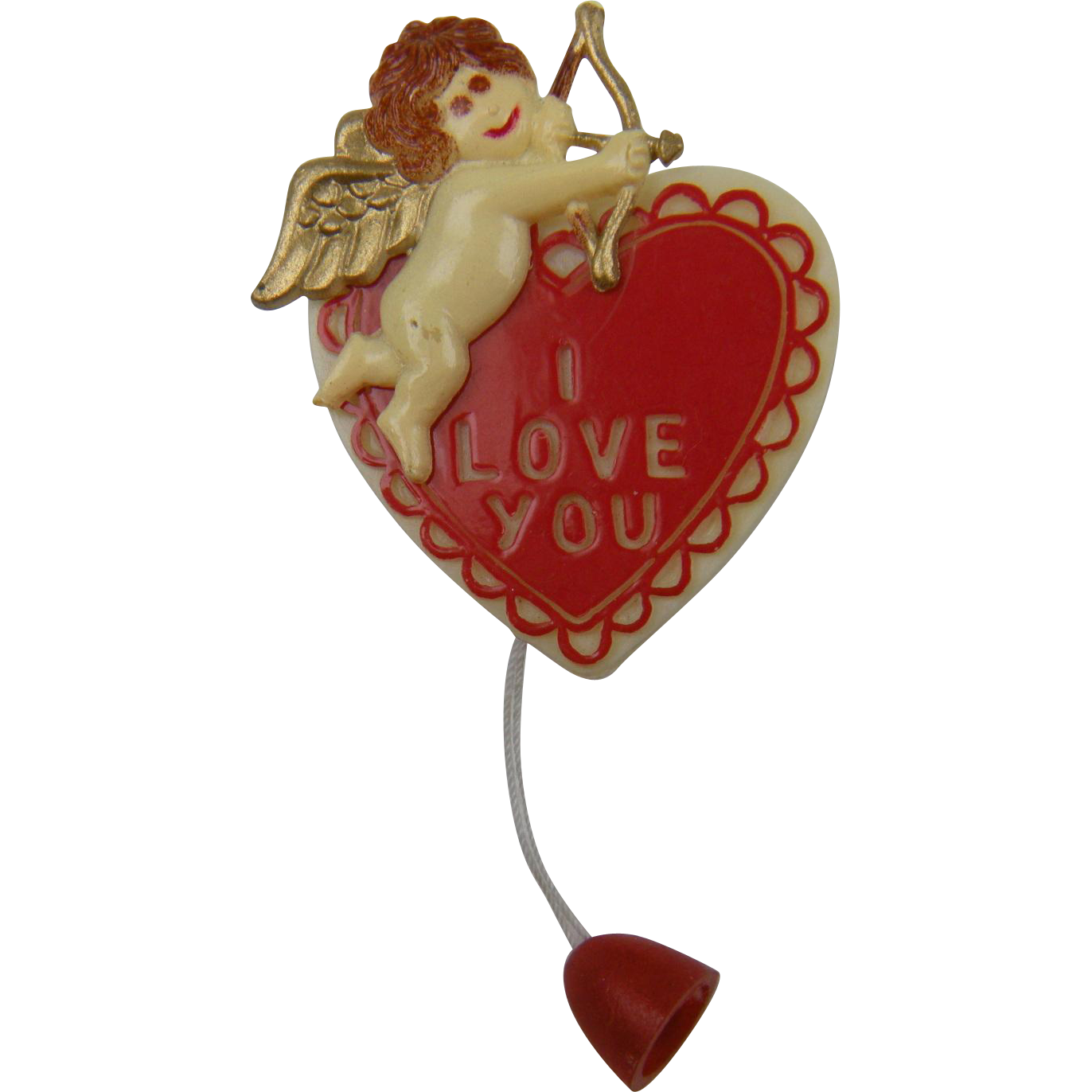 "SALE 1940's Heart Brooch ""I Love You"" Cupid with Arrow"