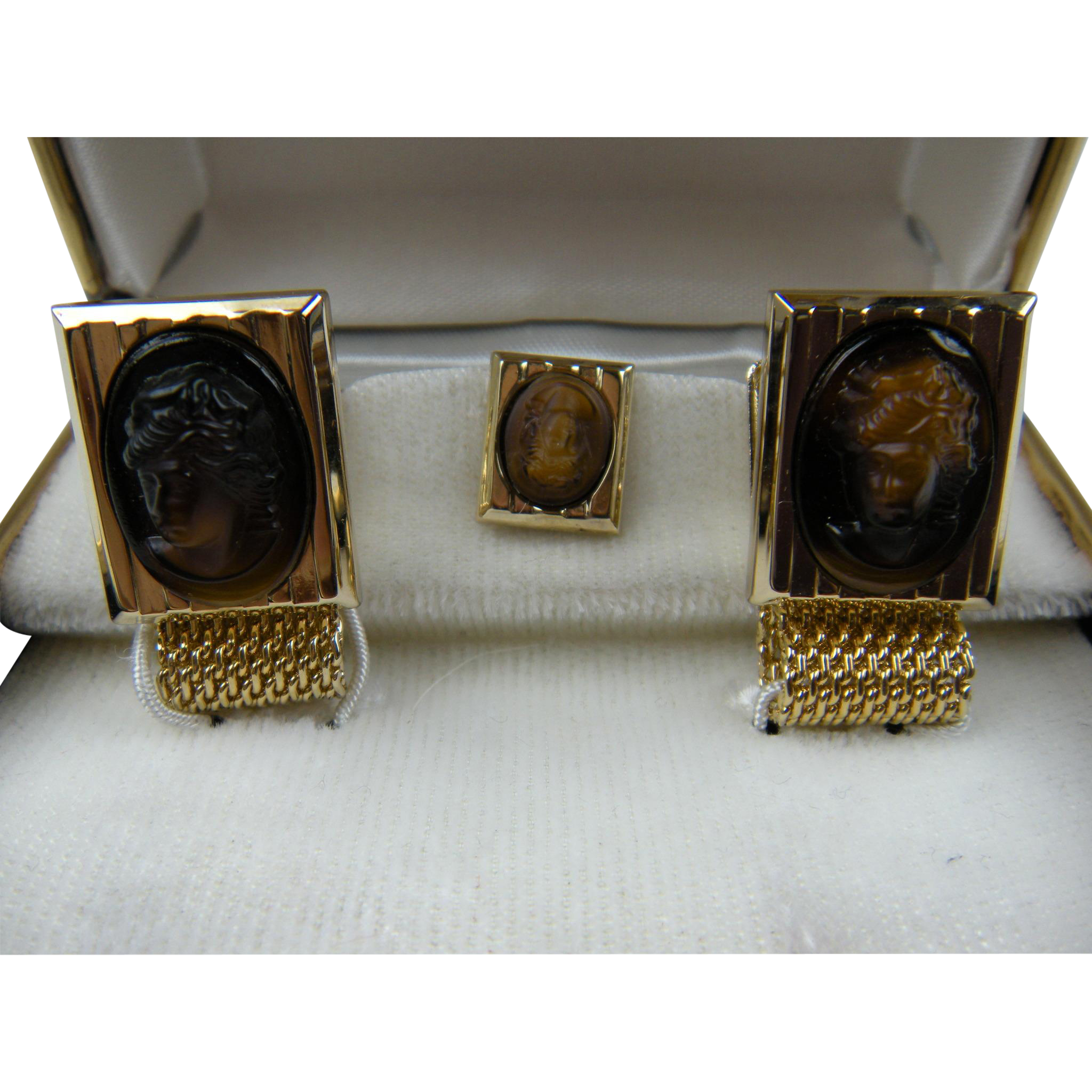 Signed Imitation Cameo Cuff Links and Tie Tack in Original Box