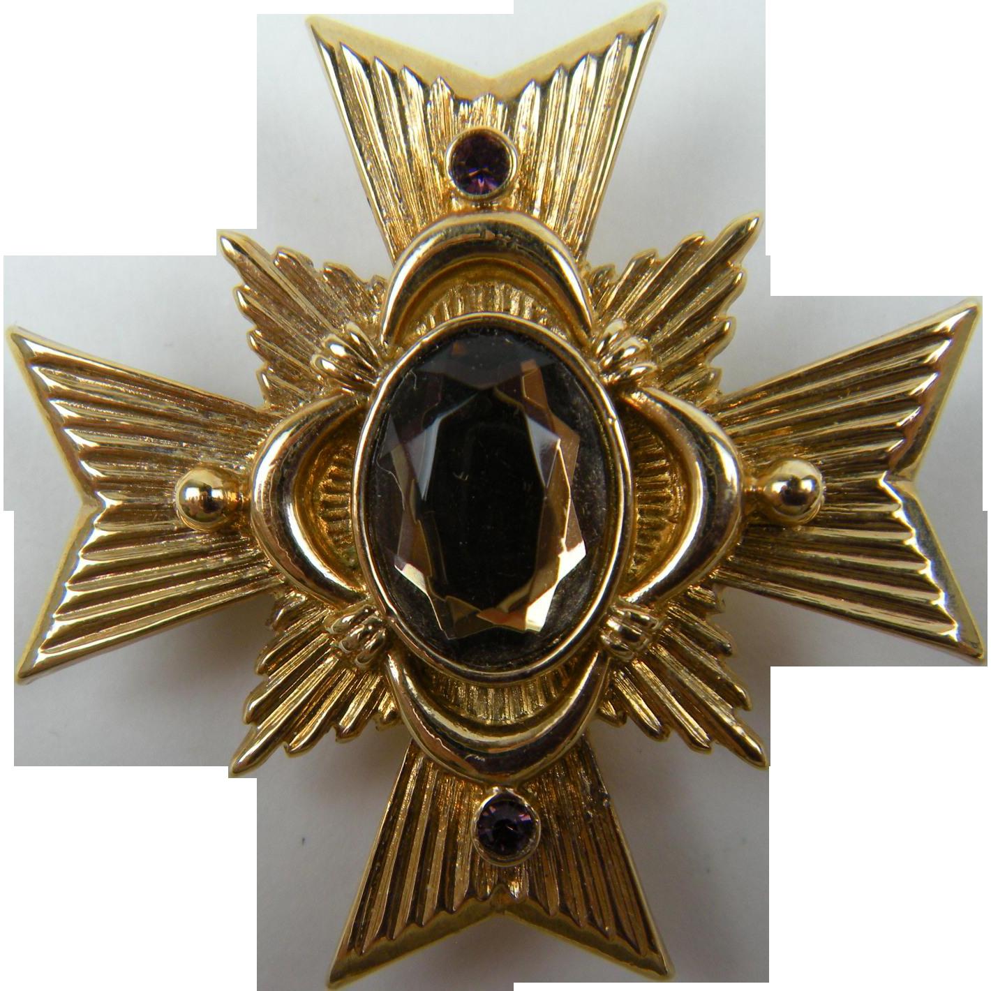 Signed AVON Maltese Cross Brooch