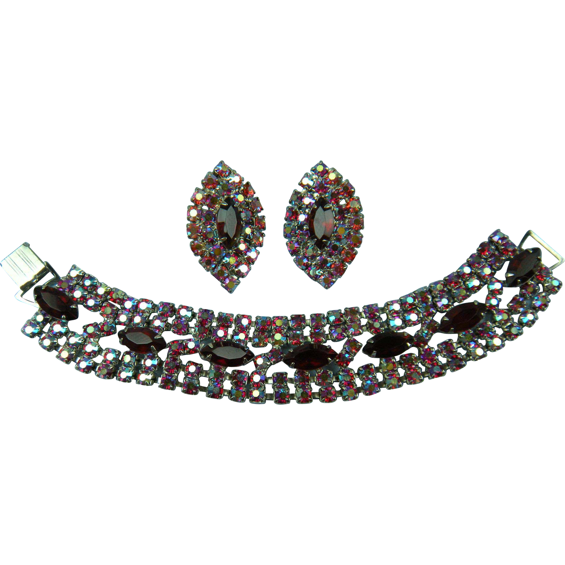 Gorgeous Rhinestone Bracelet with Matching Earrings