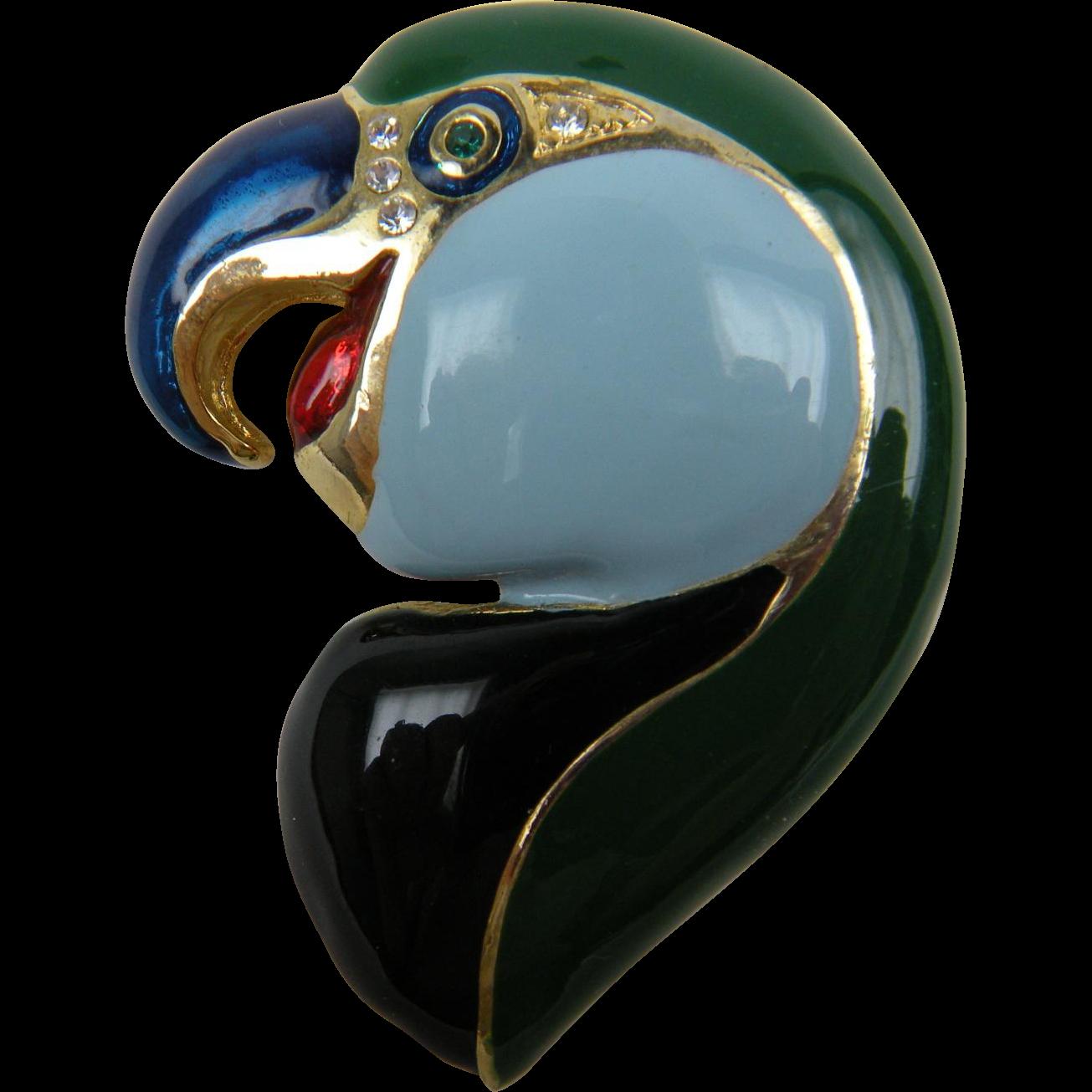 Elegant Enameled Parrot Pin