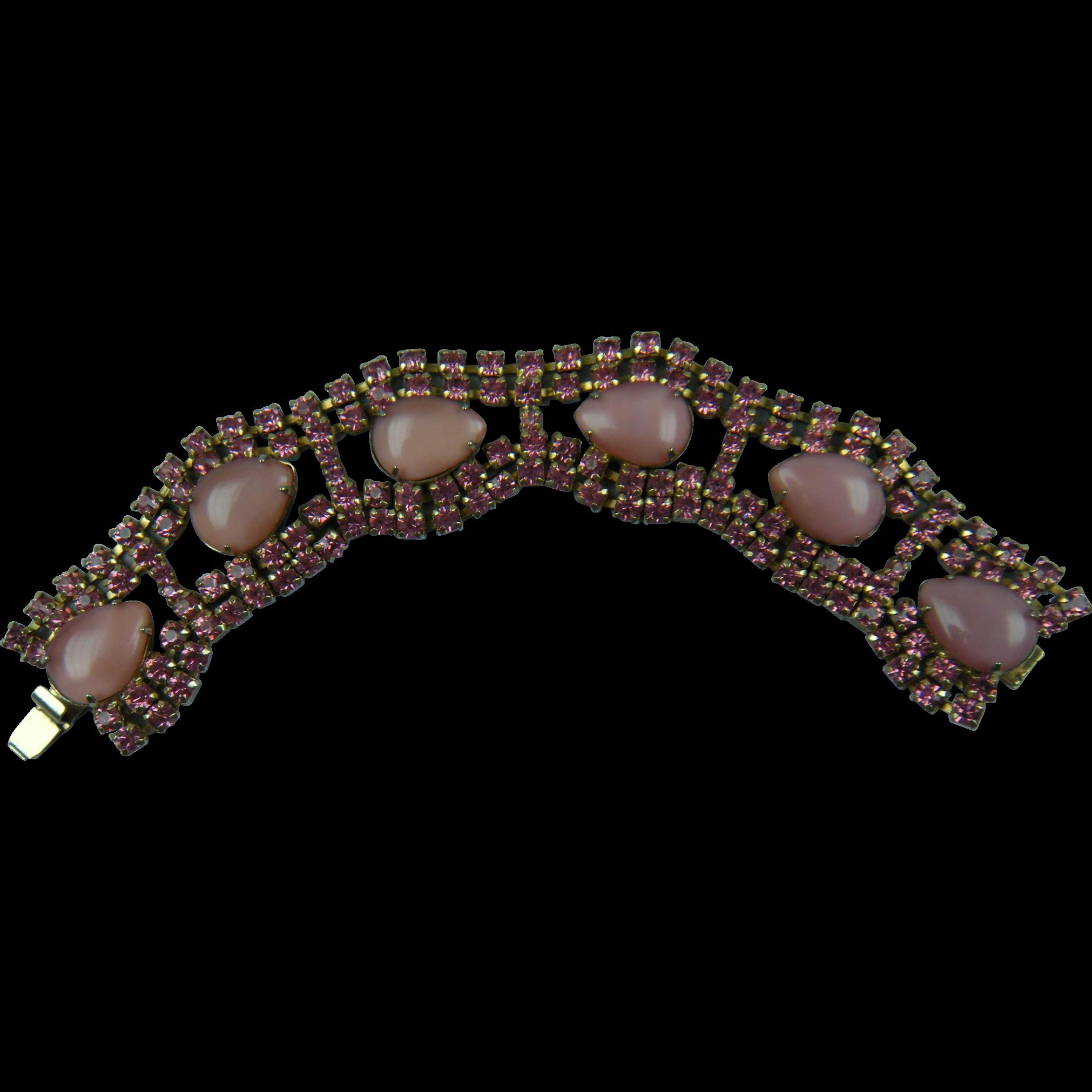 Luscious Pink Rhinestone Bracelet