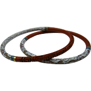 Pair of Cloisonne and Cinnabar Bangles