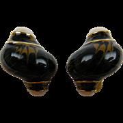 SALE Signed ERWIN PEARL Enameled Clip Earrings