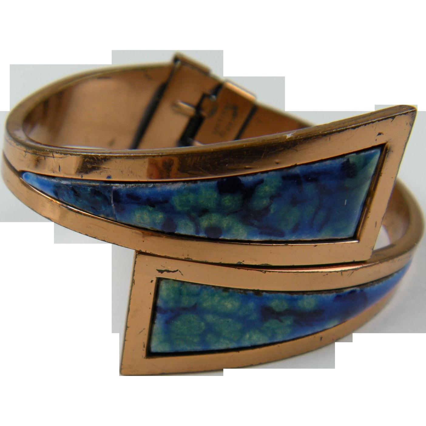 Signed MATISSE RENOIR Enameled Copper Bracelet Book Piece