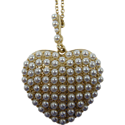 Imitation Pearl Puffed Heart Pendant with Extra Long Chain