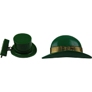 Early Plastic Leprechaun Hat Brooches