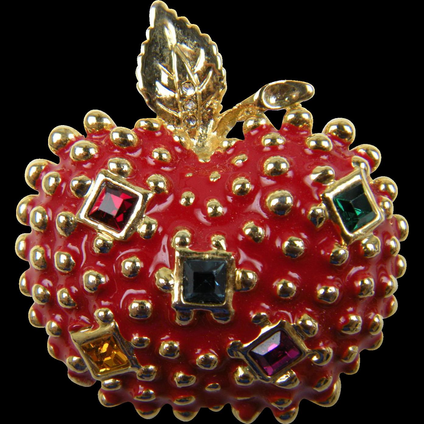 Jeweled Apple Figural Brooch