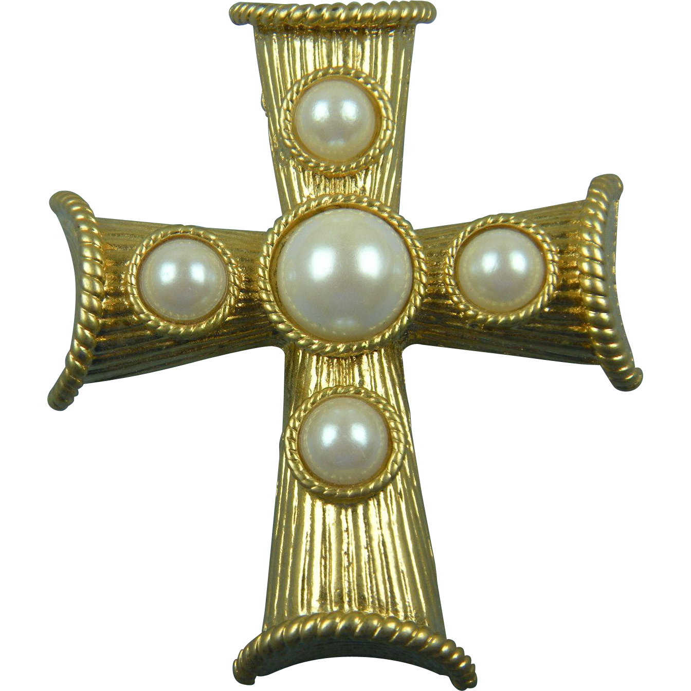 Signed Parklane Huge Gold Plated Cross with Imitation Pearls