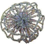 Exciting Signed 1960's VENDOME Crystal Bead Flower Brooch Huge