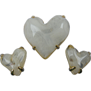 Rare Signed GIVENCHY Heart Brooch with Matching Earrings