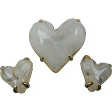 RESERVED  Signed GIVENCHY Heart Brooch with Matching Earrings