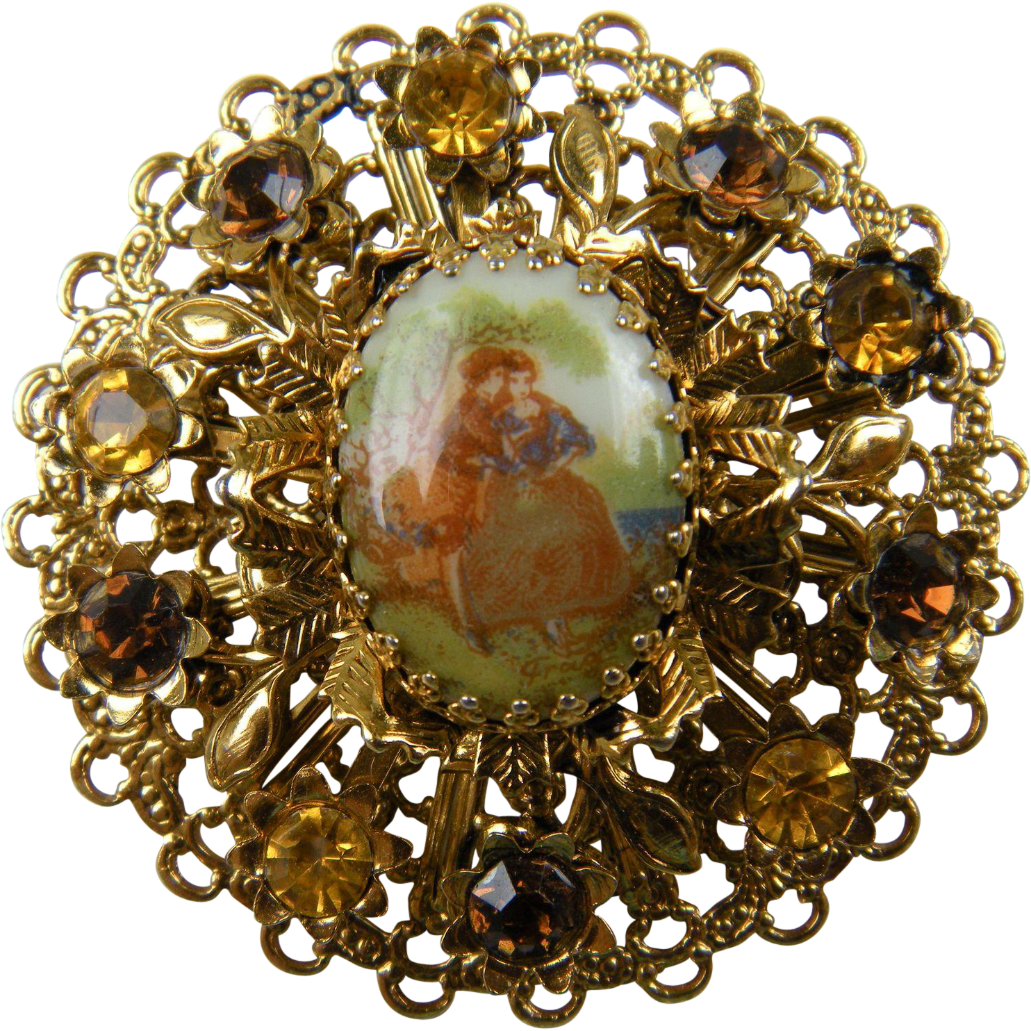 West Germany Style Brooch With Courting Couple