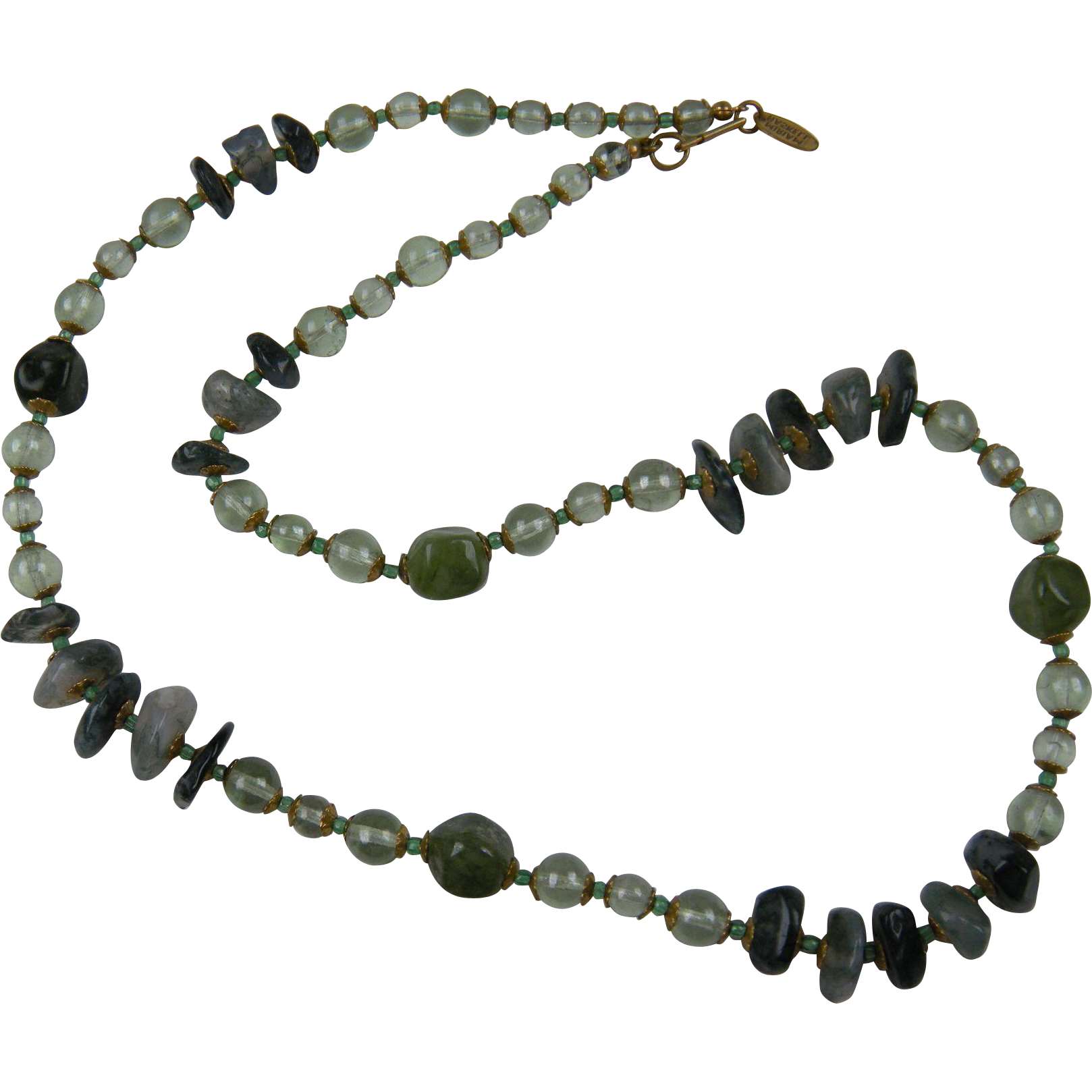 Signed MIRIAM HASKELL Polished Stone Beaded Necklace