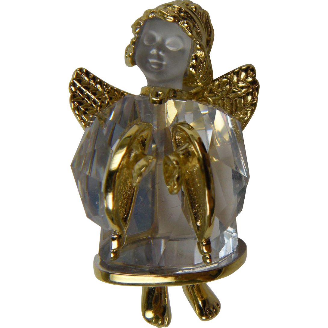 Signed Swarovski Angel Brooch Retired Design