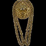 Massive 1970's Signed NAPIER Lion Pendant Necklace Book Piece