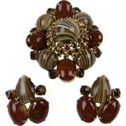 Rare Signed LA REL Brooch with Matching Earrings