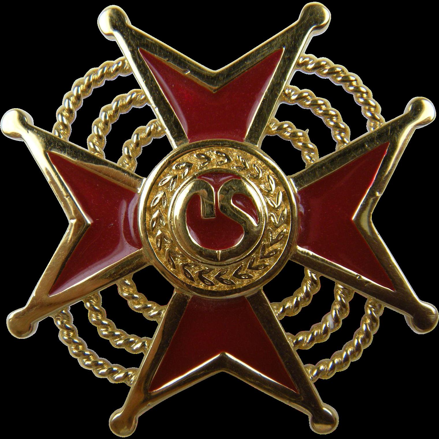 Signed  St. John Maltese Cross Brooch