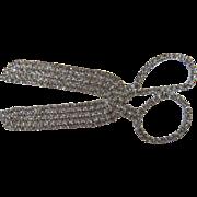 Huge Jeweled Scissors Brooch