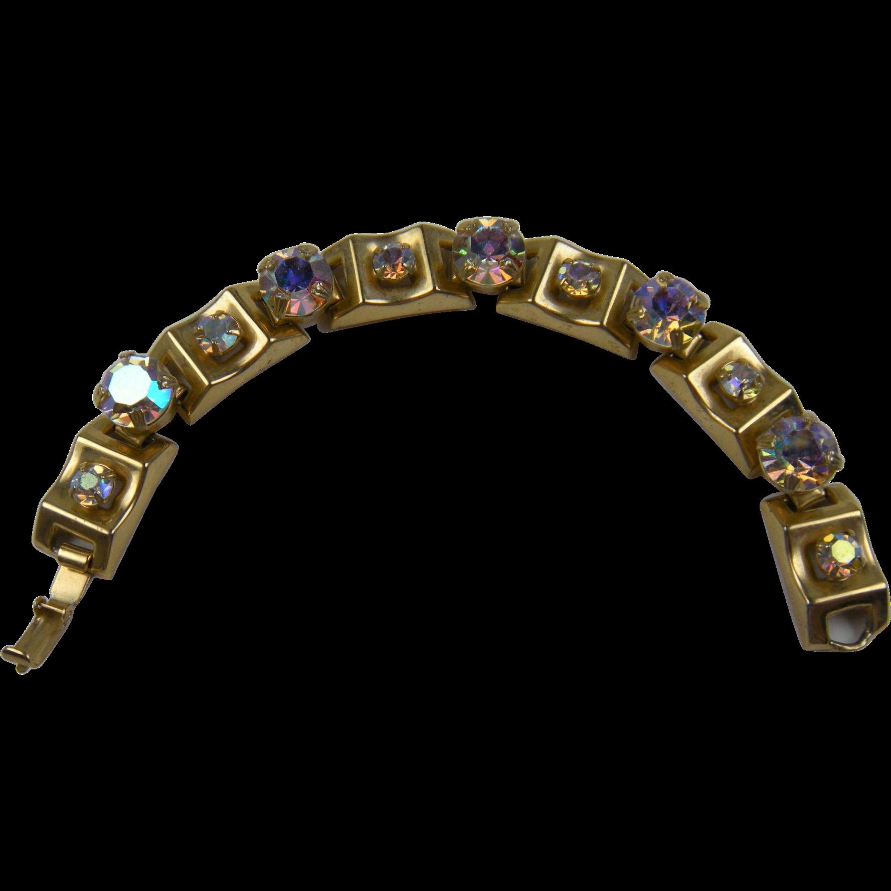 Sparkling Aurora Borealis Chunky Link Bracelet