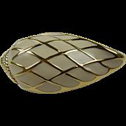 Signed TRIFARI Enameled Shell Brooch