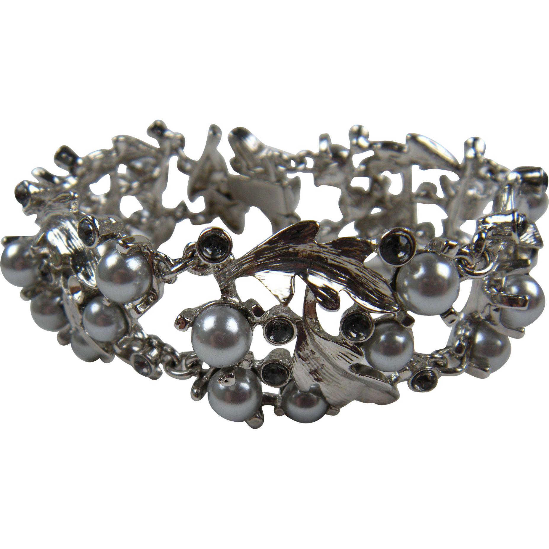 Elegant Silver Plated Bracelet with Grey Pearls and Rhinestones