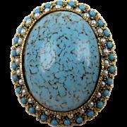 Huge Imitation Turquoise Brooch & Pendant